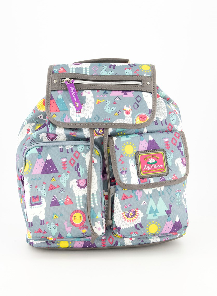 Women's Allover Print Backpack, Gray/Red Combo
