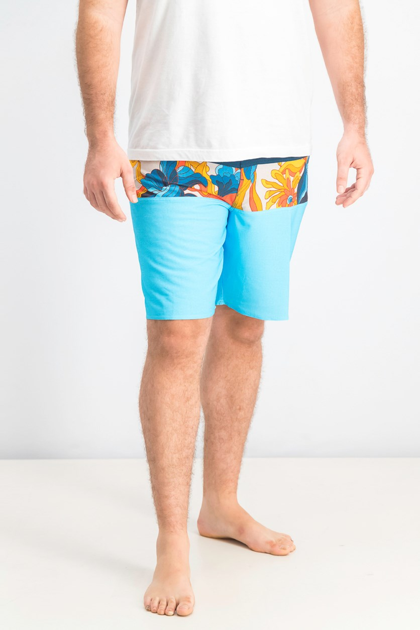 Men's Printed Trunks Short, Blue/Orange/Navy