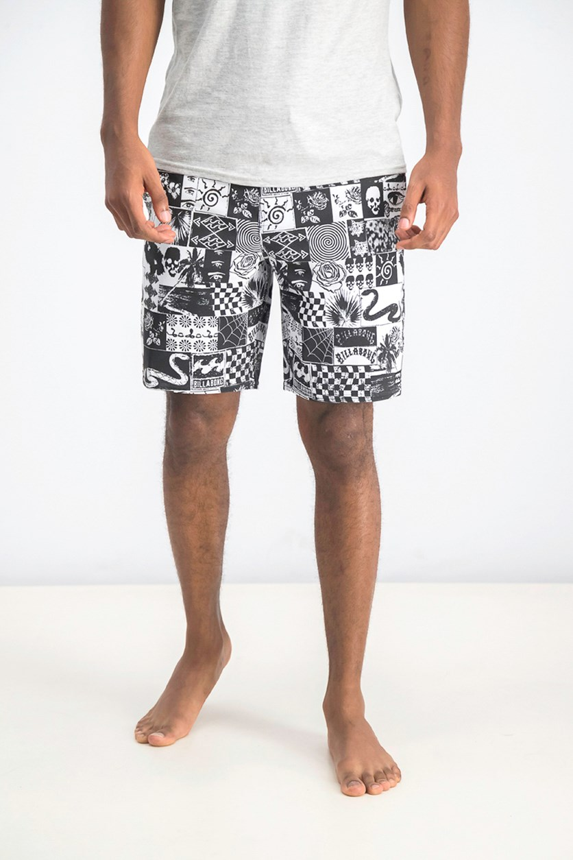 Graphic Lo tides Sunday Boardshort, Black/White