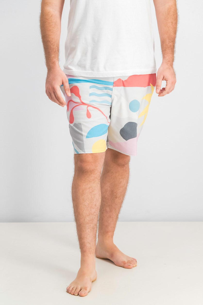 Mens Sunday Boardshort, Grey/Red/Blue Combo