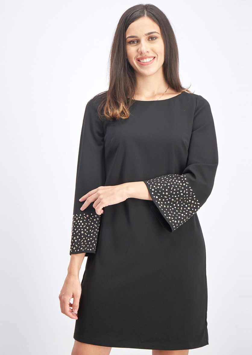 Women's Studded Cocktail Shift Dress, Black