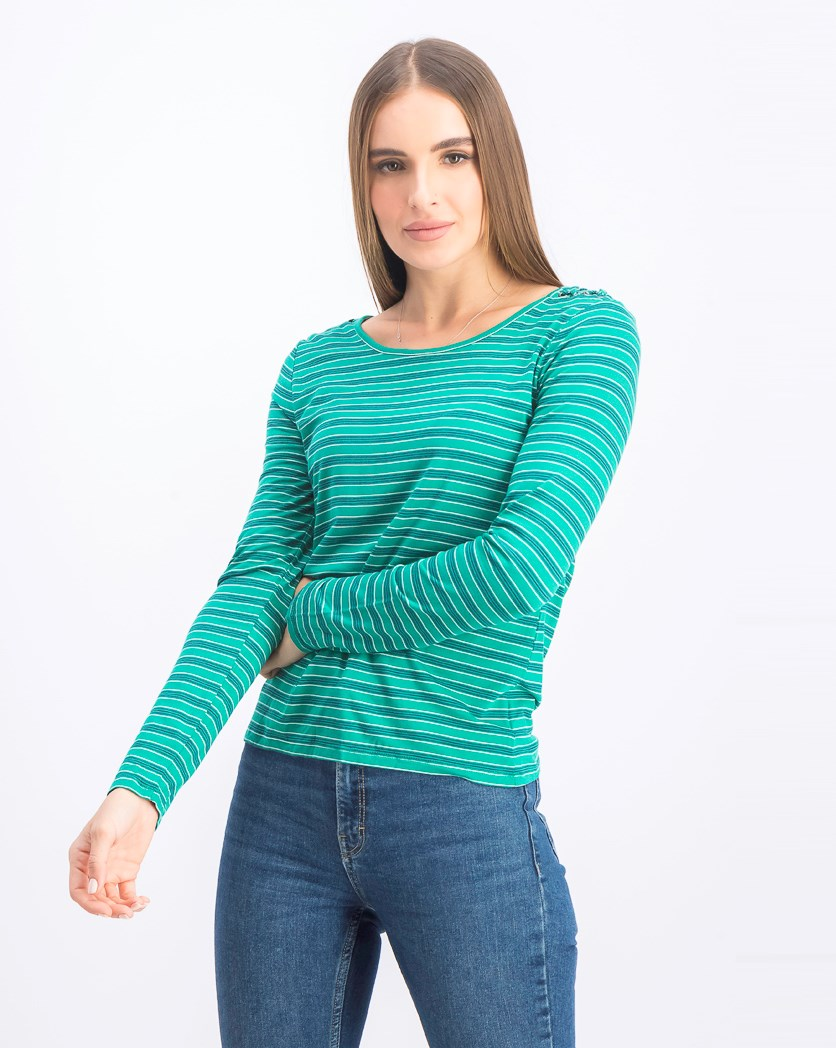 Striped Lace-Up Shoulder Top, Green