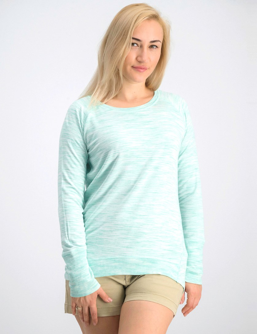 Women's High-low Hemline Long Sleeve Sweater, Lime Green