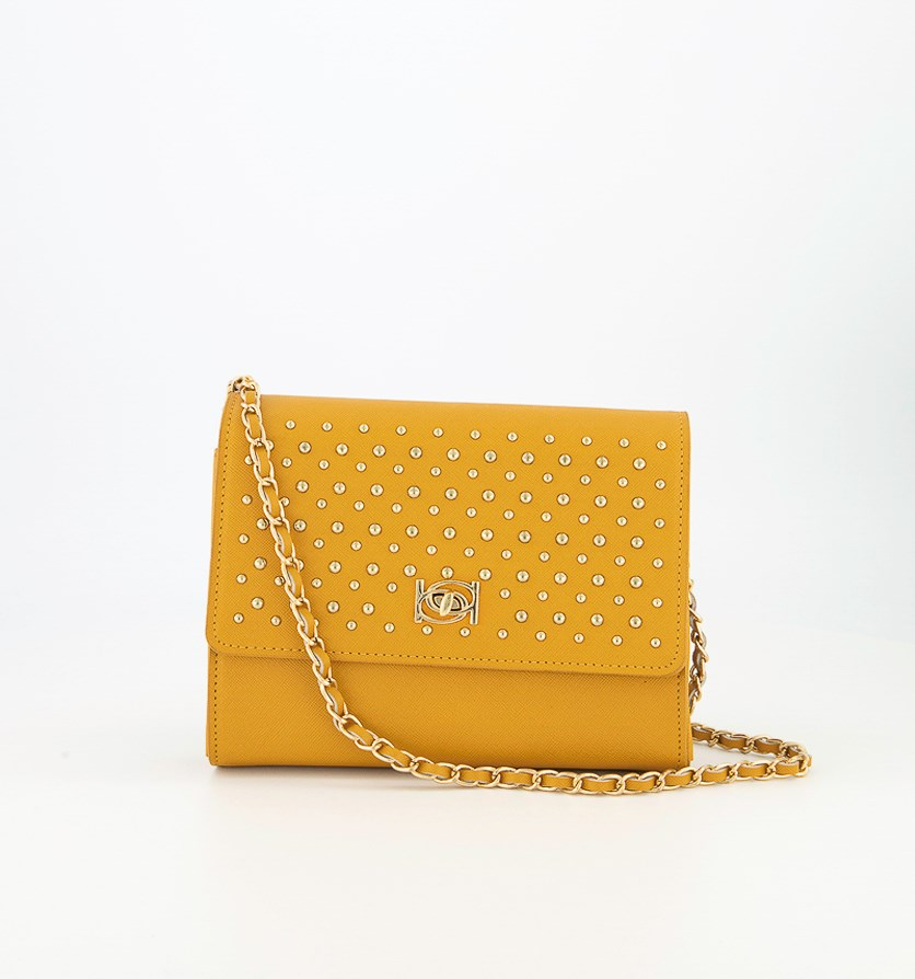 Women's Christina Stud Crossbody Bag, Mustard