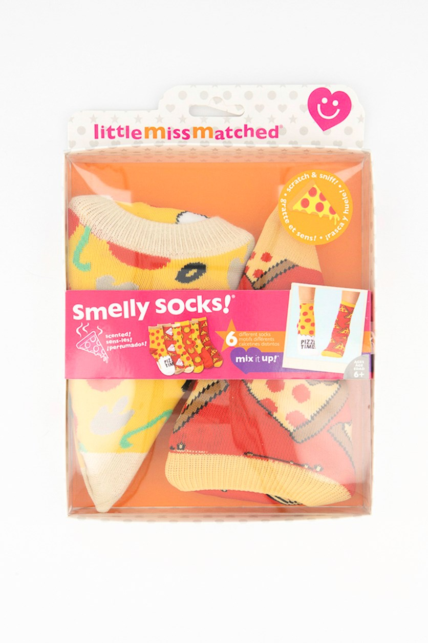 Unisex Smelly Socks Pizza Anklets, Red/Yellow/Brown