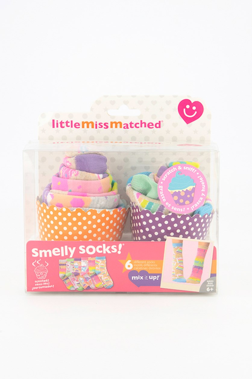 Smelly Socks Cupcakes Anklets, Grey/Purple/Pink