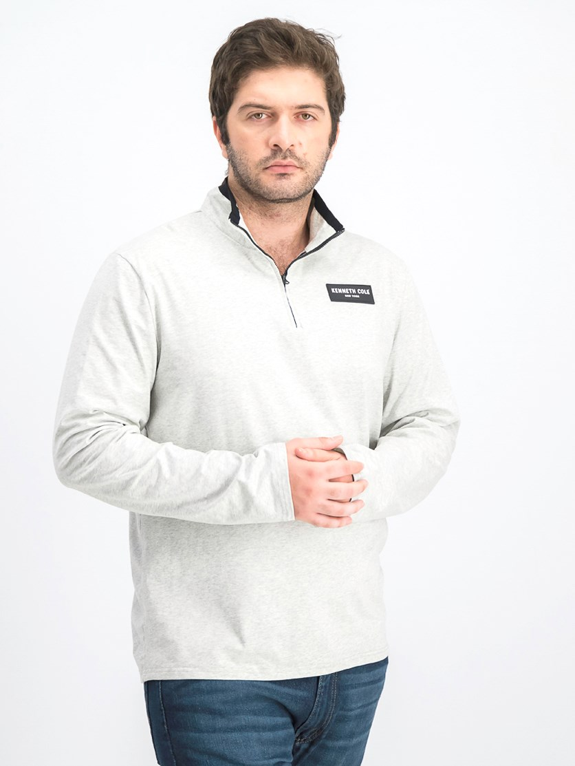 Men's Half-Zip Mock With Logo Sweater, Heather Grey