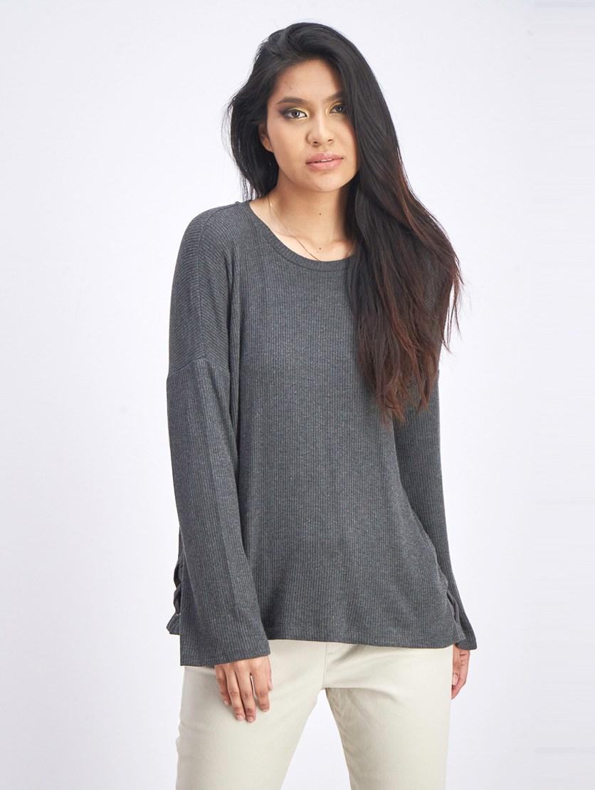 Women's Ribbed Sweater, Charcoal