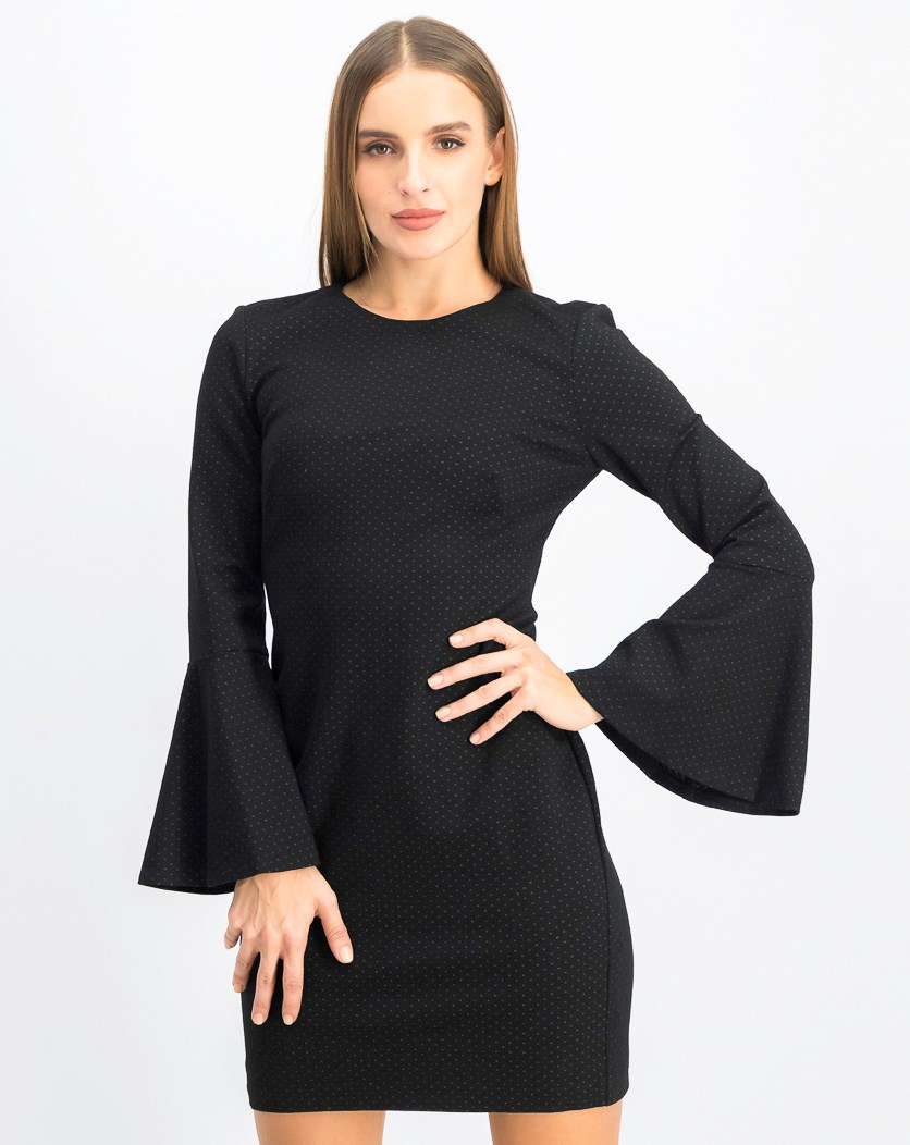 Women's Polka Dot Bell Sleeves Dress, Black