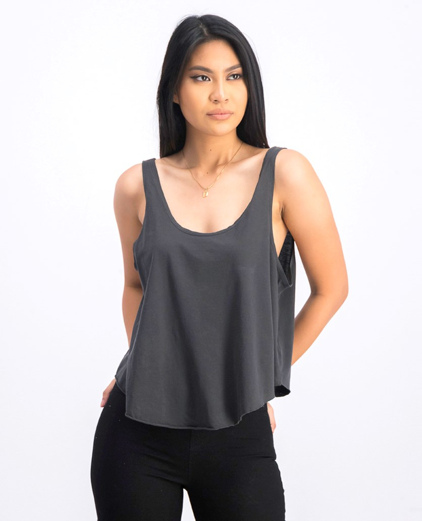 Women's Label Drape Tank, Wash Black