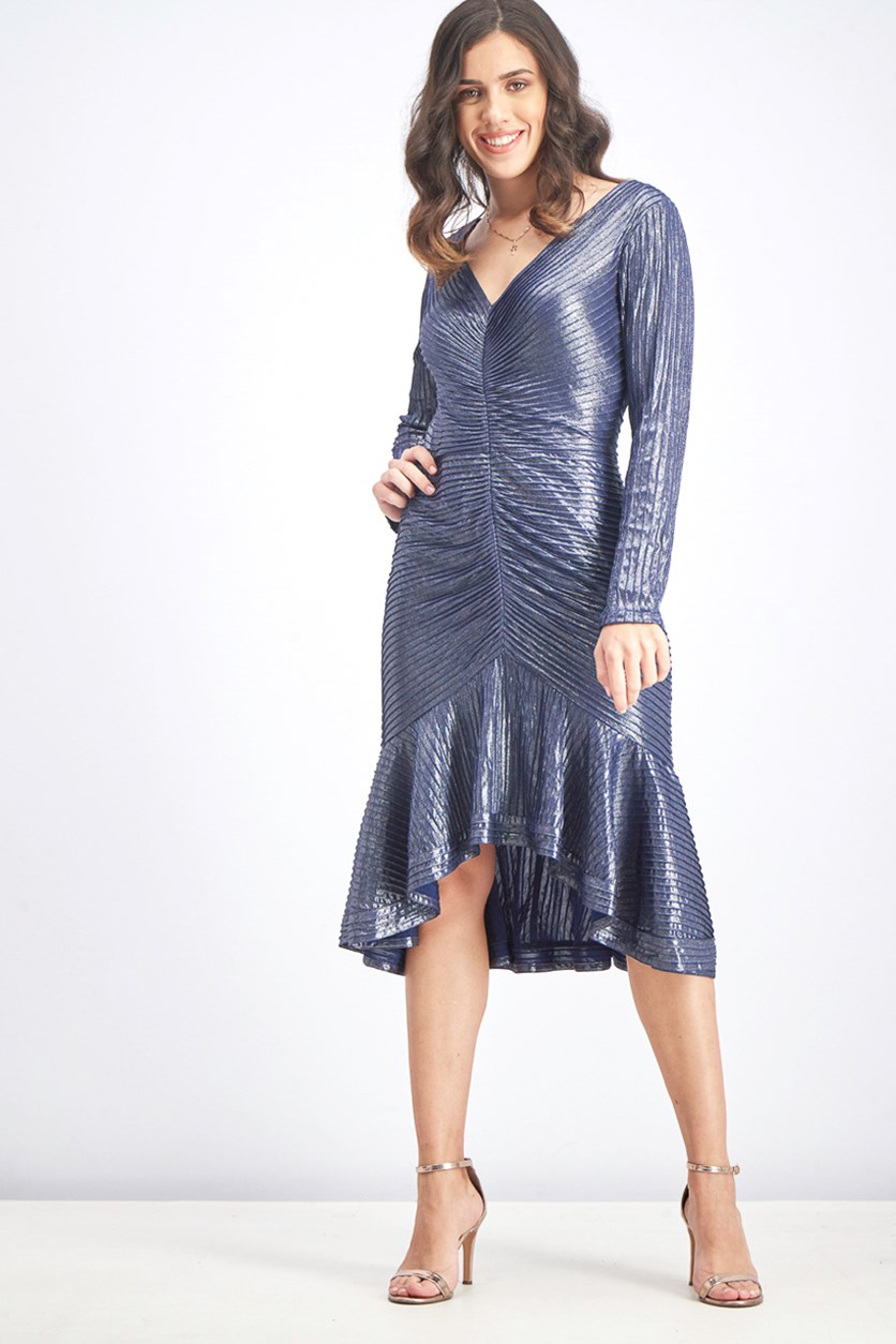 Women's Pintuck Hi-Low Cocktail Dress, Midnight Blue