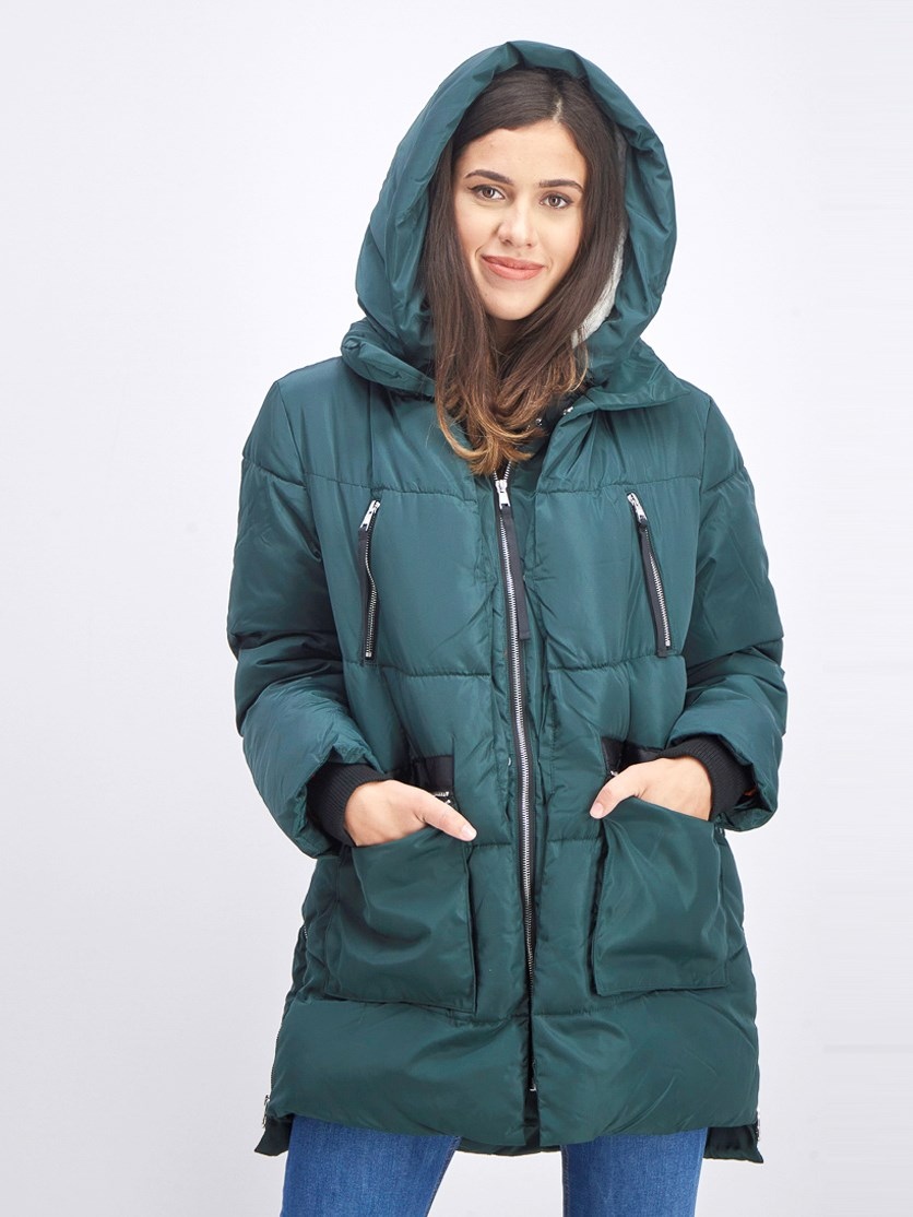 Women's  Sherpa Lined Flight Hooded Parka, Deep Green