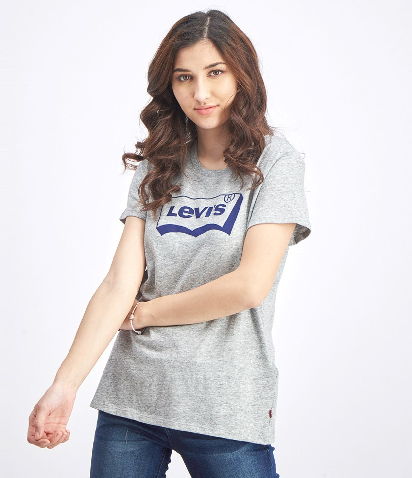 Women's Smokest Graphic Brand Logo Shirt, Grey