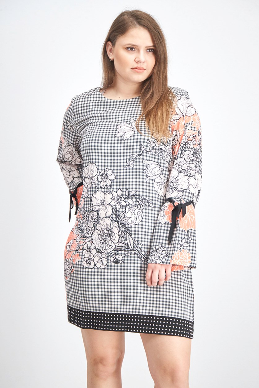Women's Printed Bell-Sleeve Sheath Dress, Black/Peach/White