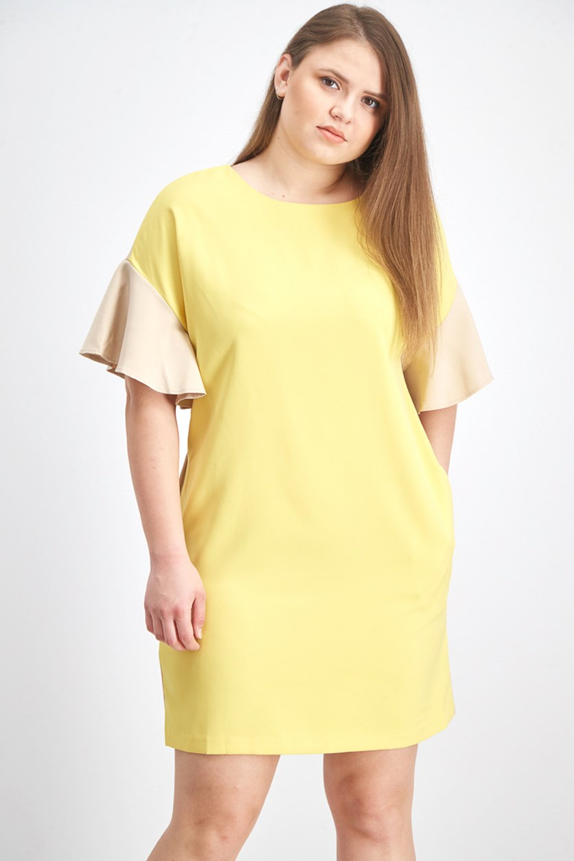 Women's Bell Sleeve Shift Dress, Yellow/Beige