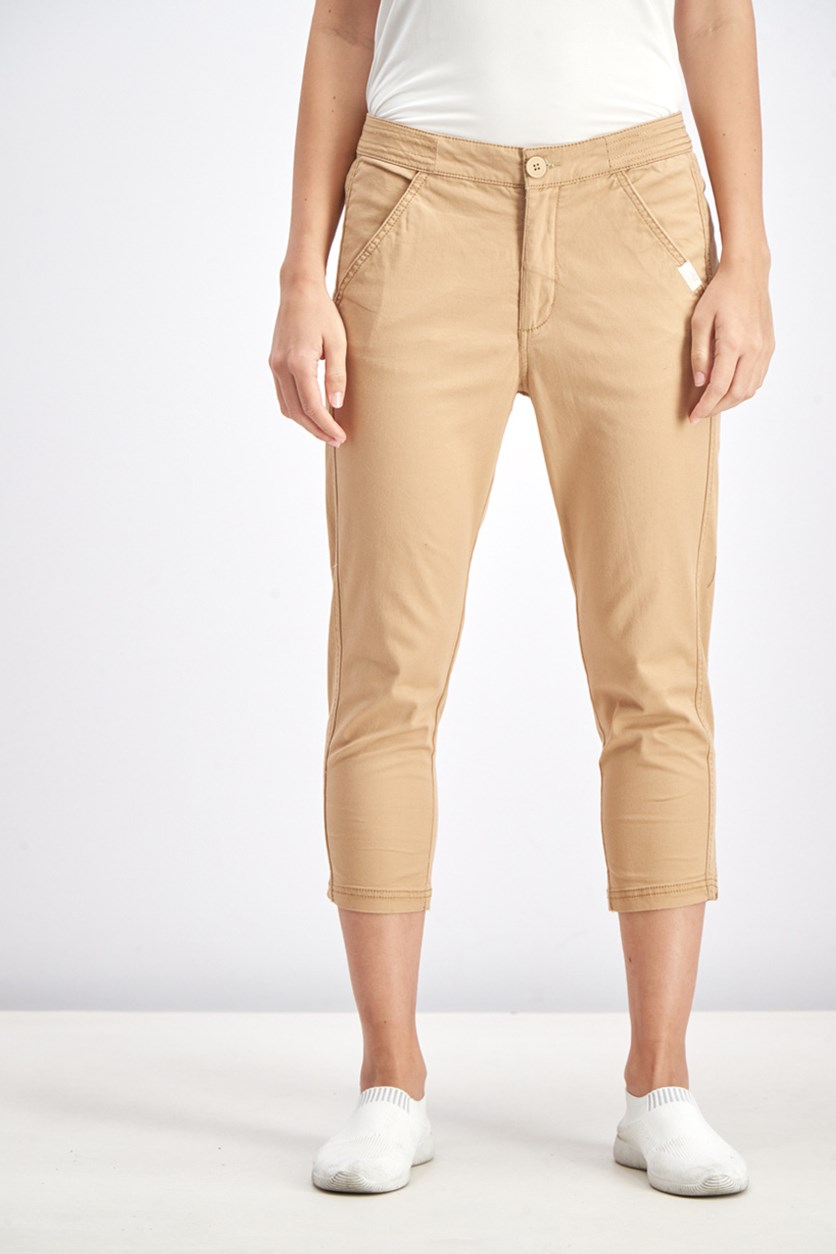 Women's 4 Pockets Pull On Pants, Brown