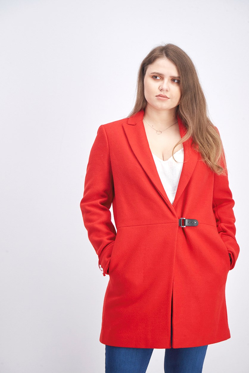 Women's Notch Collar Clip Coat, Red