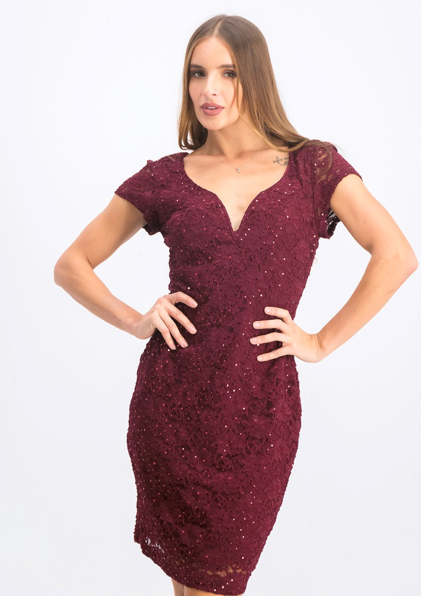 Women's Petite Sequin-Embellished Lace Sheath Dress, Burgundy
