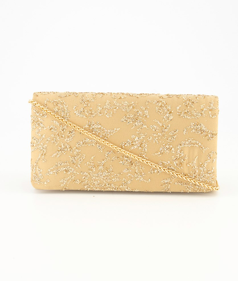 Women's Shay Glitter Net Clutch Bag, Gold