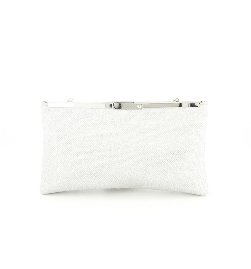 Stefania Small Clutch, Silver
