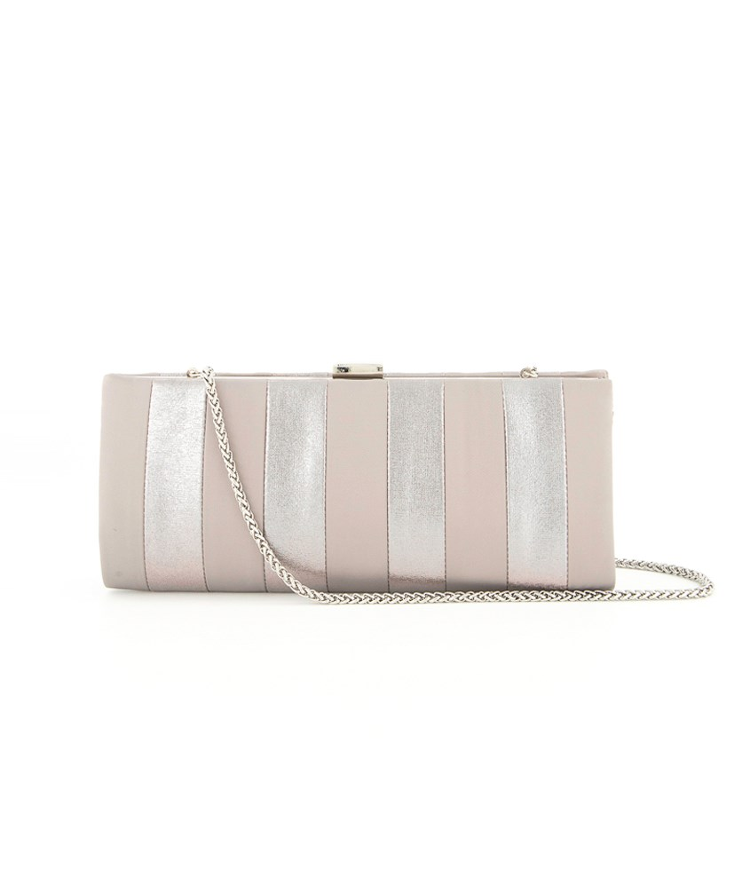 Women's Frame Striped Satin Clutch, Pewter