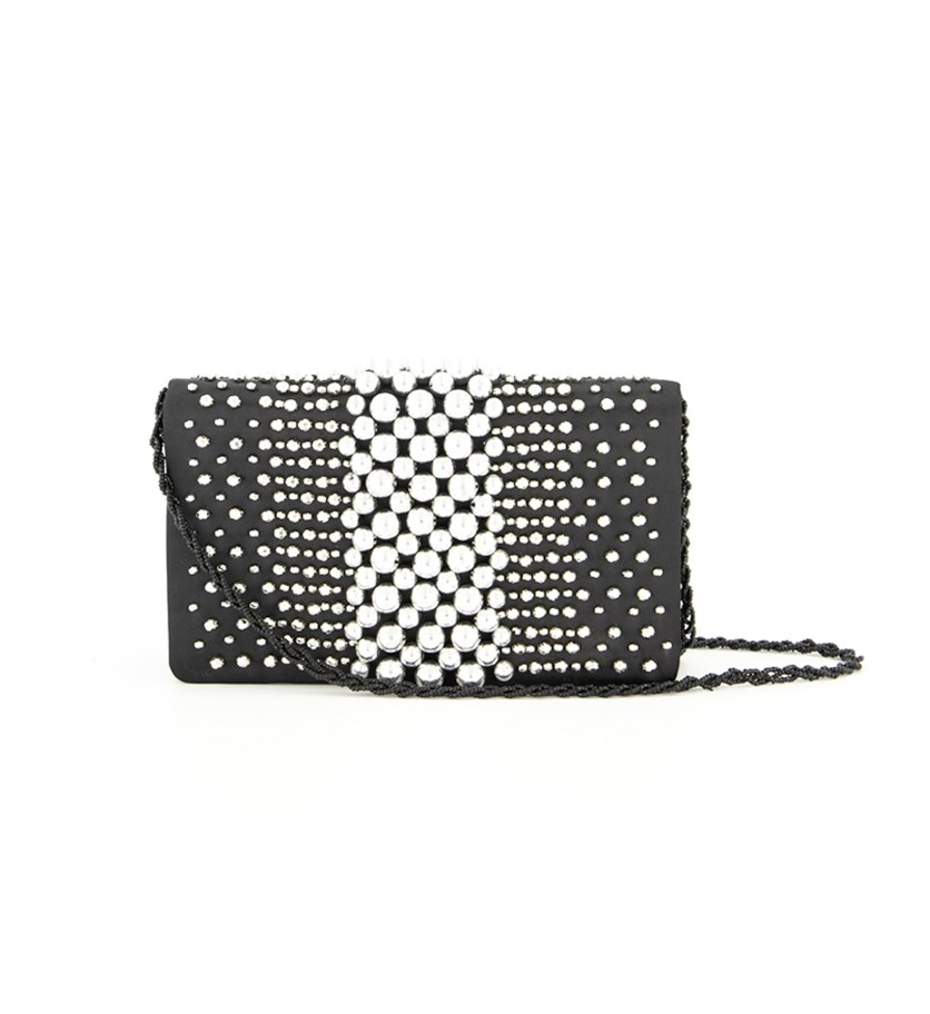 Women's Ida Beaded Envelope Clutch, Black/Silver