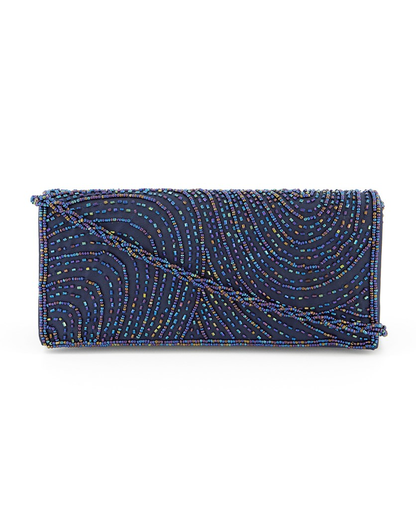 Women's Italy Beaded Clutch Bag, Navy