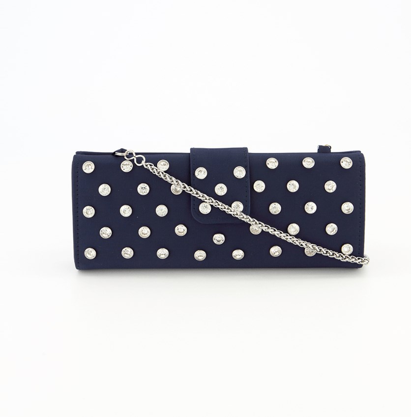 Women's Salena Rhinestone Clutch Bag, Navy/Silver