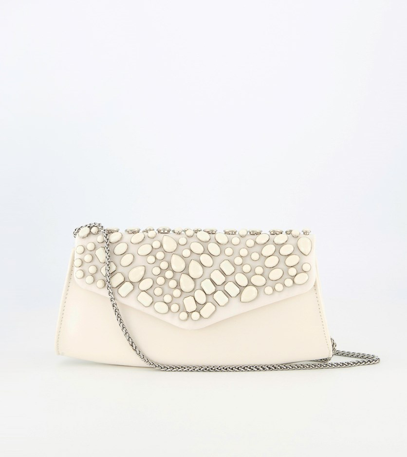 Women's Nicollete Clutch Handbag, Off White