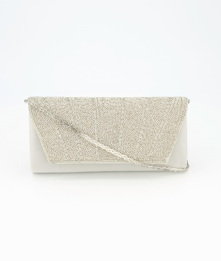 Women's Irisa Beaded Clutch Bag, Silver