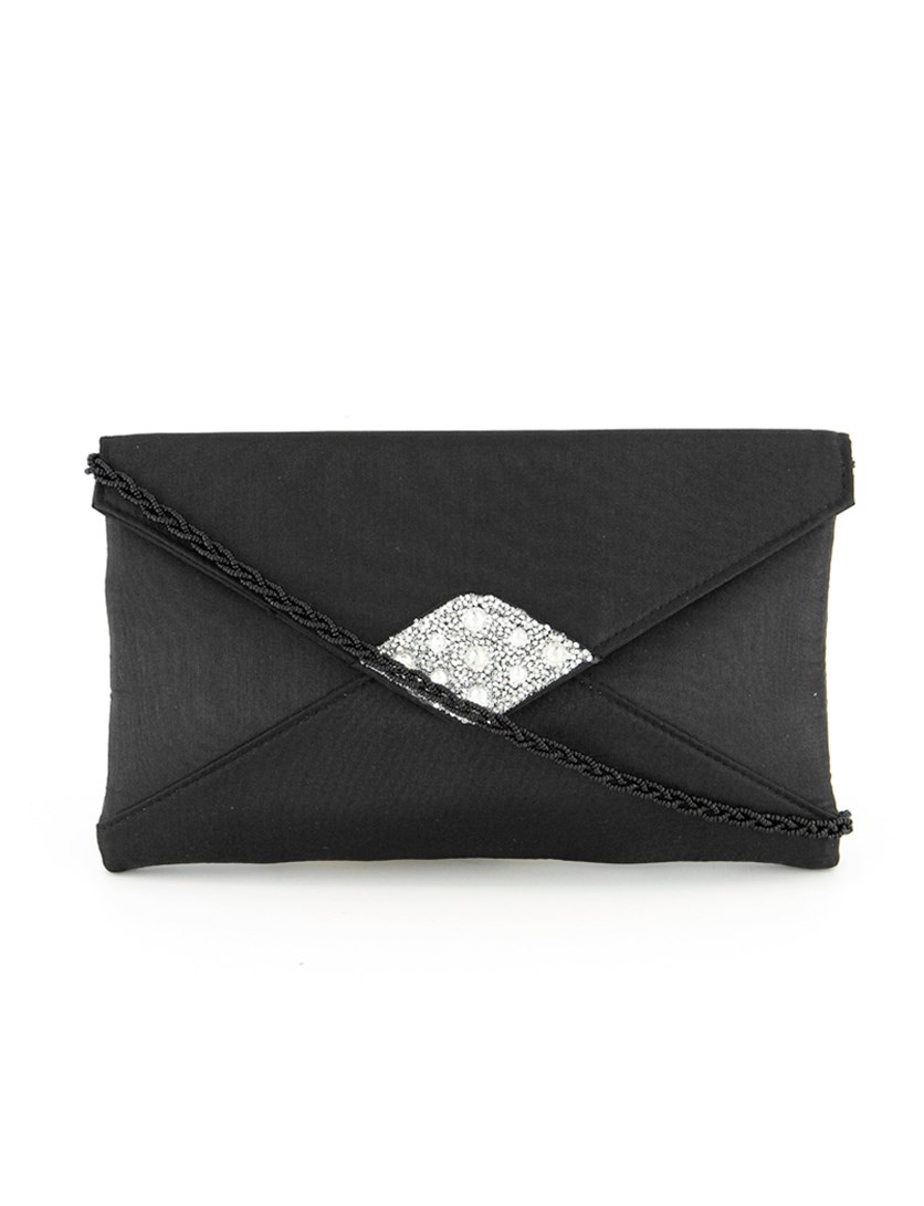 Women's Kadin Rhinestone Clutch Bag, Black