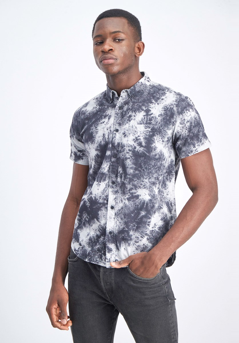 Men's Tie Dye Short Sleeve Woven Shirt, Black