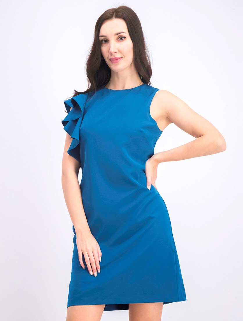 Women's Ruffled Sheath Dress, Petrol
