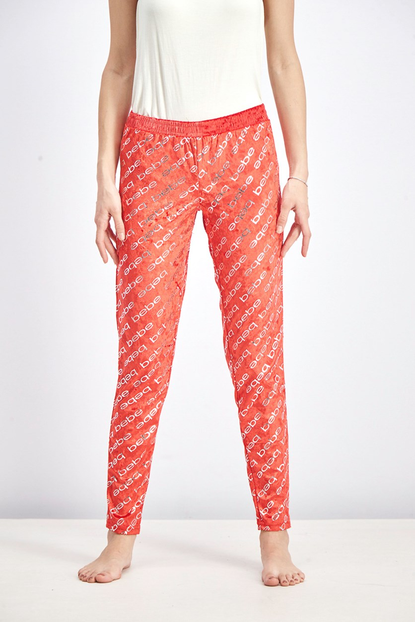 Women's Metallic Print Pajama, Red/Silver