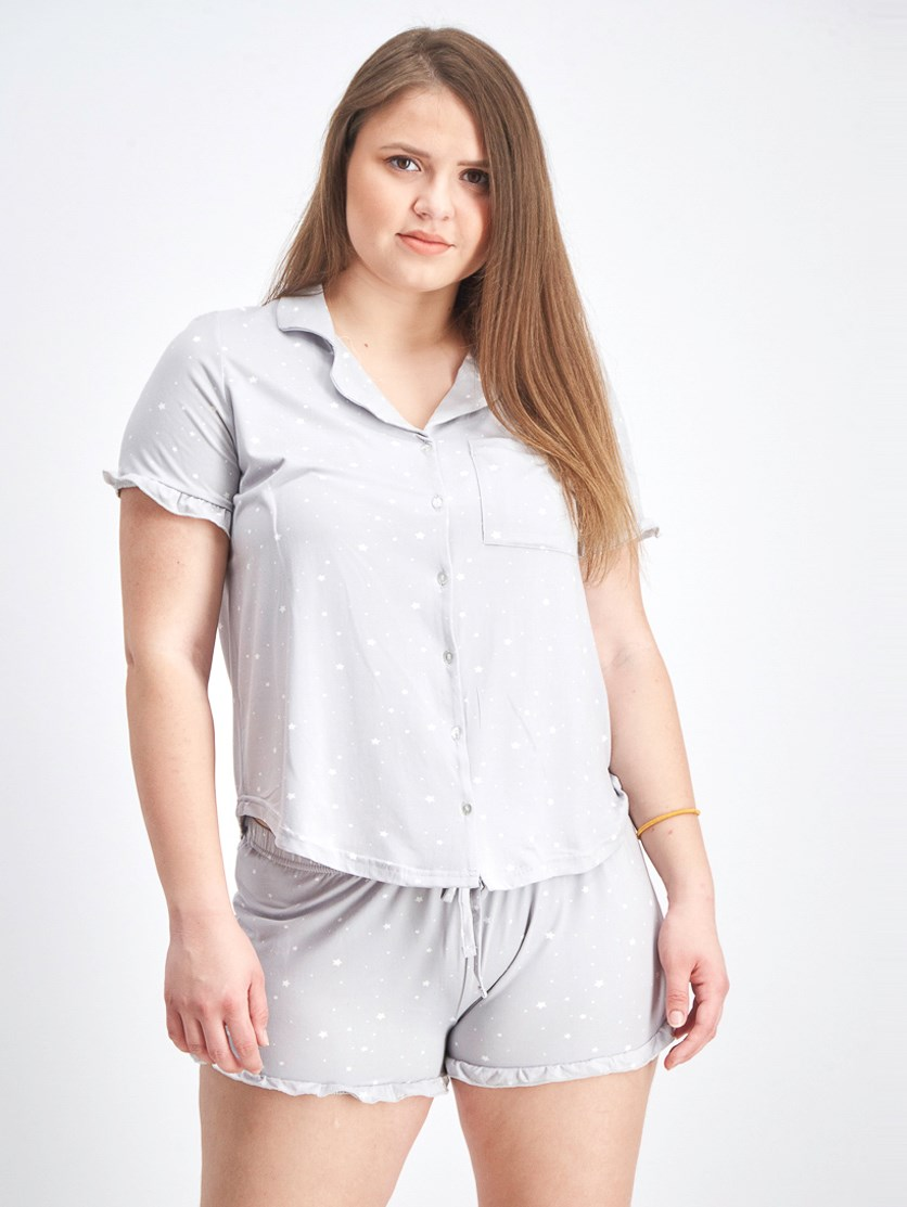 Women's Top And Shorts Pajama Set, Heather Grey