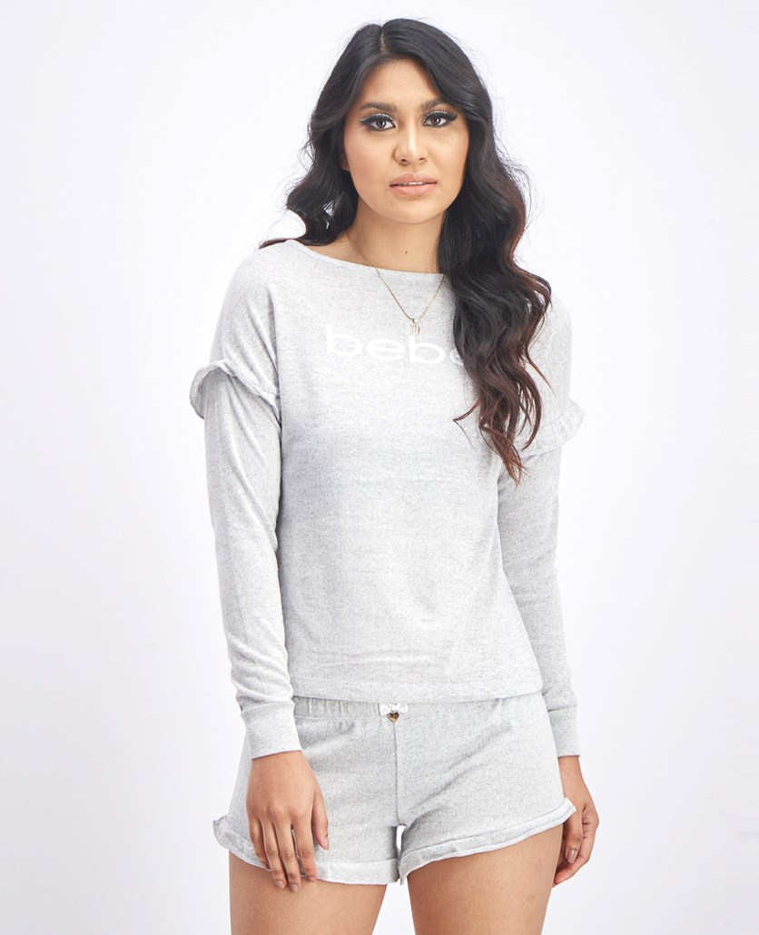 Women's Tops And Shorts Pajama Set, Heather Grey