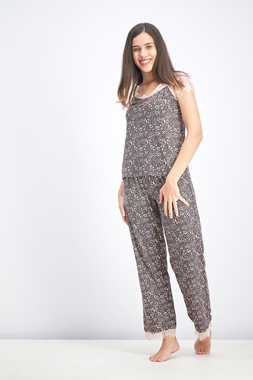 Women's Lace Tops And Pants Sleepwear Set, Brown/Peach