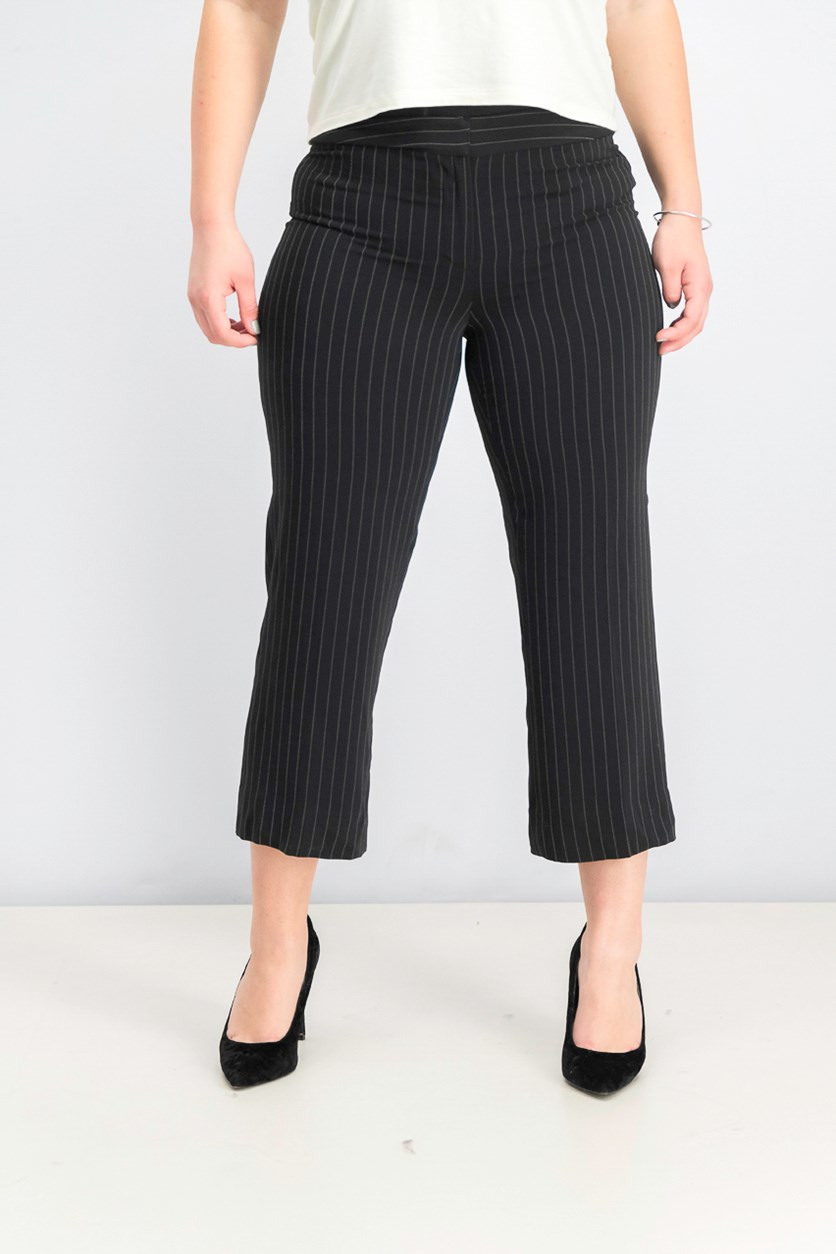 Womens Savanah Pinstripe Straight Pants, Black/White