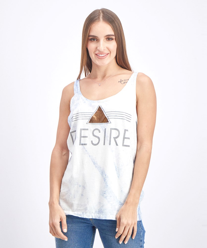 Women's Graphic Tank Tops, Light Blue