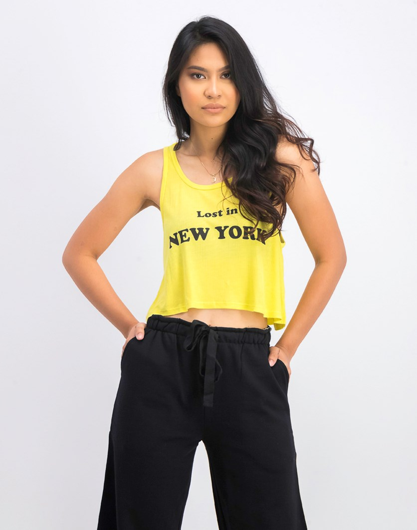 Women's Knit Graphic Tank Top, Yellow
