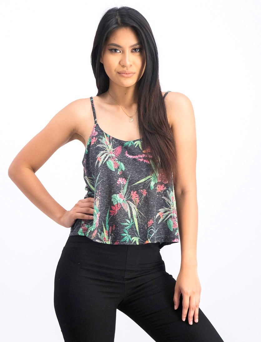Women's Ruffle Front Floral Print Top, Black Combo
