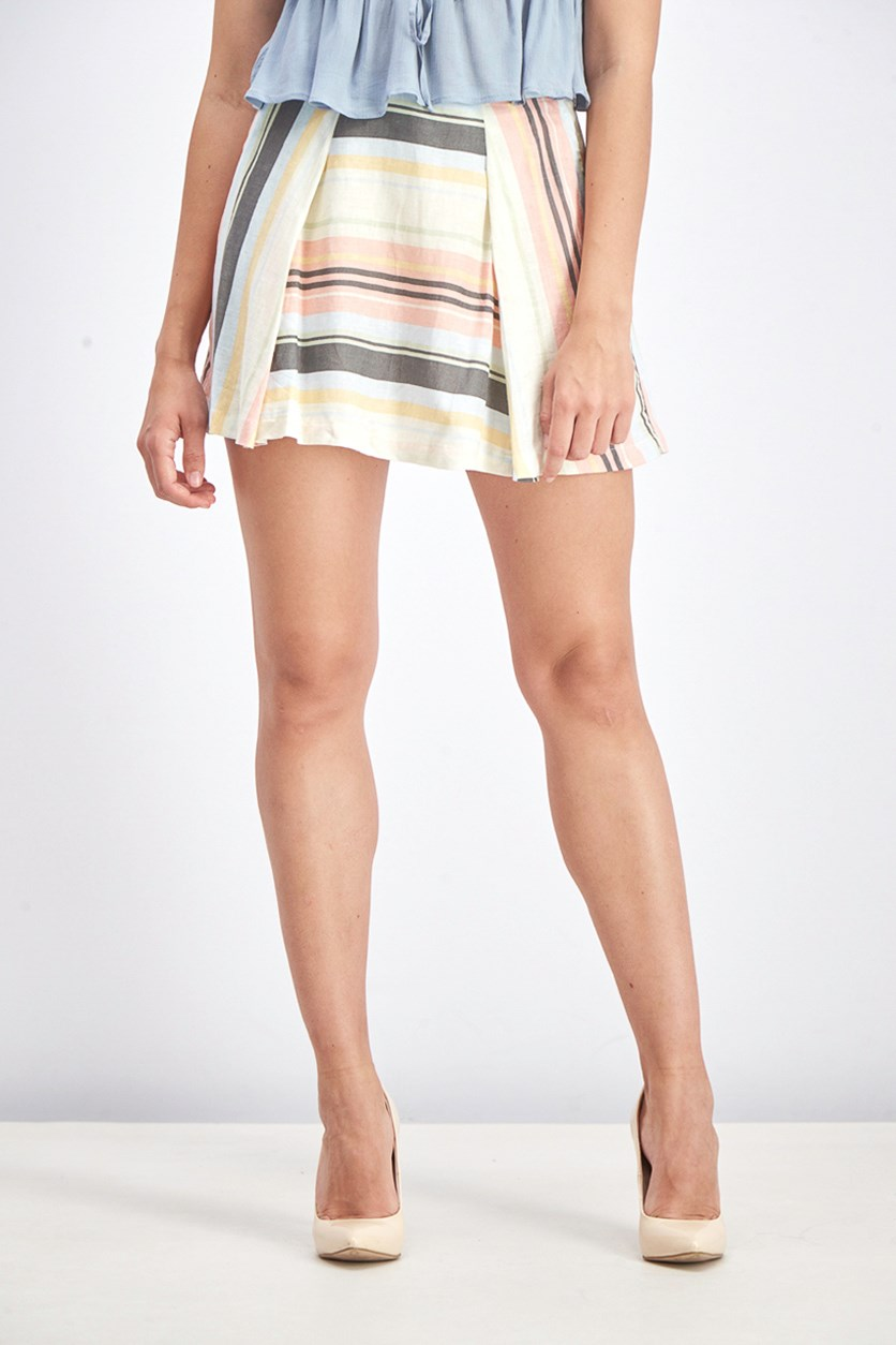 Women's Striped Skirt, Ivory Combo