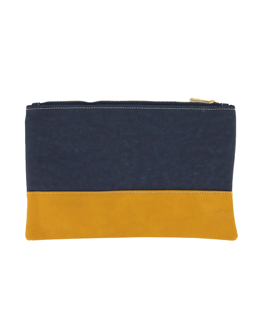 Women's Two Colors Stationery Purse, Gray/Yellow Orange