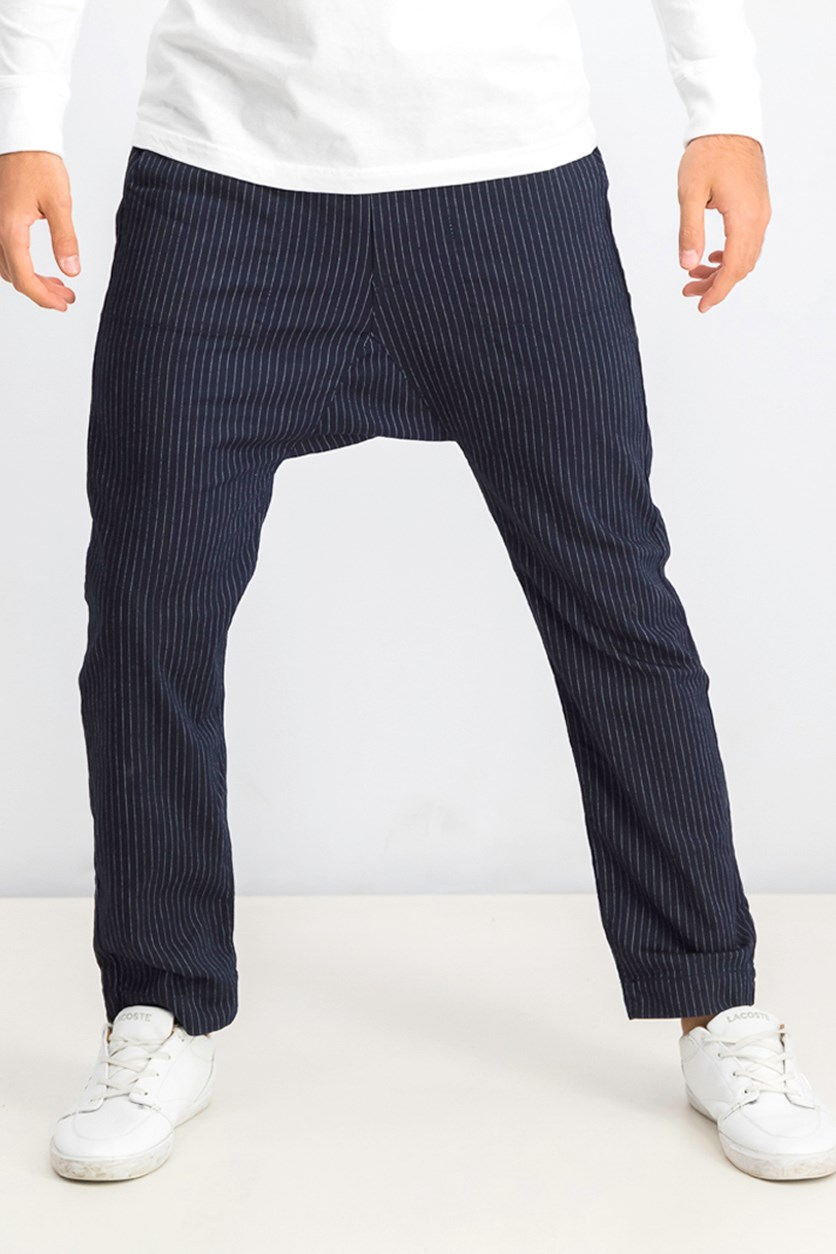 Men's Drawstring Waist  Stripe Pant, Navy