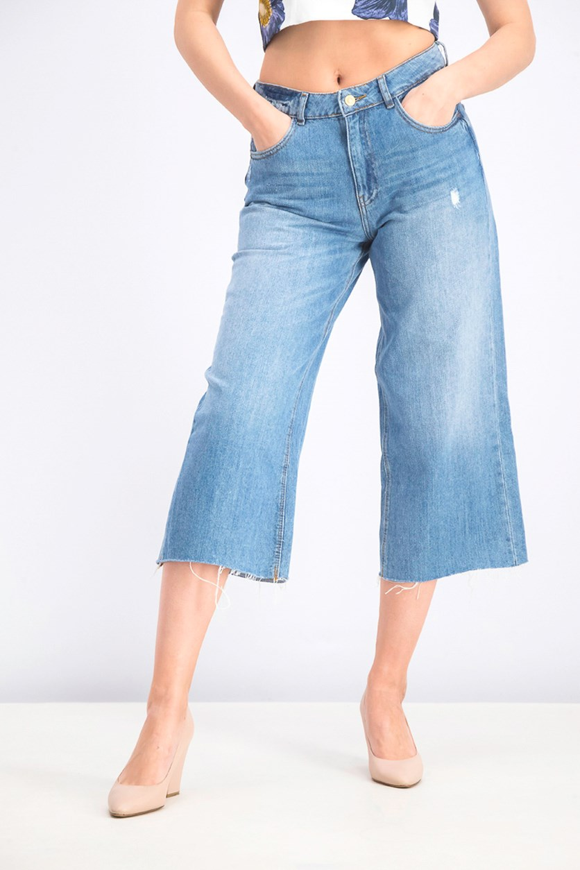 Women's Distressed Hem Jean's, Blue