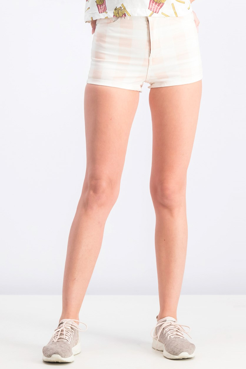 Women's Checkered Short, Light Pink/White