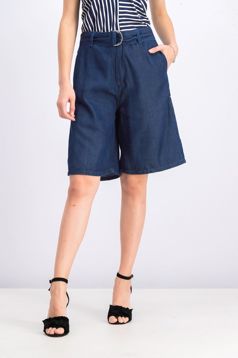 Women's Belted Denim Short, Navy