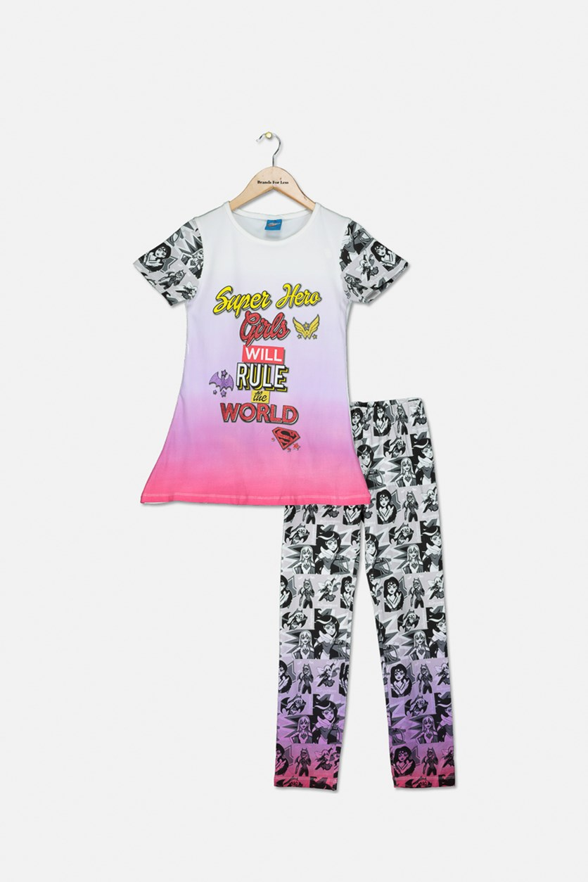 Girl's Short Sleeve Top And Pajama Set, White/Purple