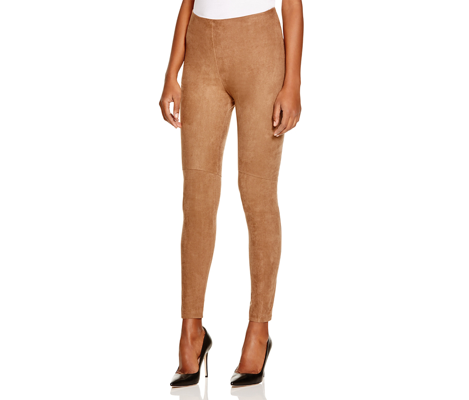 Lysse High-Rise Faux Suede Leggings, Latte