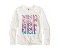 Epic Threads Big Girl'S Music-Print Sweatshirt, White/Pink